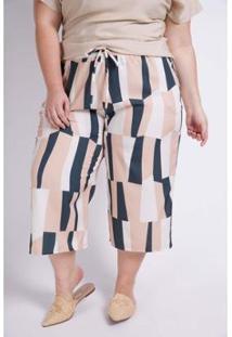 Calça Kaue Plus Size Pantacourt Estampa Geométrica Feminina - Feminino-Laranja