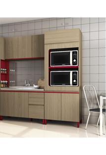 Cozinha Compacta Kappesberg New Urban 3 Peças - Nature/Marsala