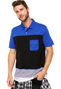 Camisa Polo Malwee Listrada Preta/Azul