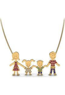 Corrente La Madame Co Pingente Ouro 18K Família Feliz Cravejados De Pedras Preciosas
