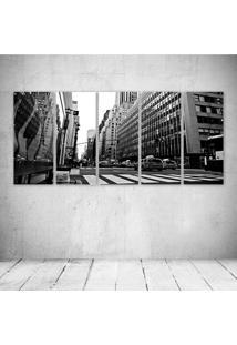 Quadro Decorativo - Black And White New York - Composto De 5 Quadros