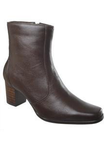 Ankle Boot Em Couro Café Tamanho Especial