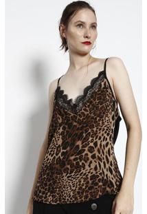 Blusa Animal Print Com Renda - Bege & Marrom- Miliormiliore