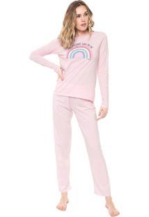 Pijama Malwee Liberta Arco-Íris Rosa