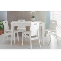 11e77ca3f Sala De Jantar Com Mesa E 4 Cadeiras Tucupi 120Cm - Acabamento Stain Branco