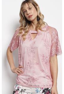 Blusa Em Renda Com Recorte Vazado - Rosa Claro - Necnectarina