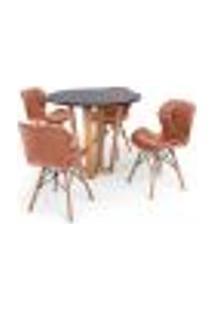 Conjunto Mesa De Jantar Lara 90Cm Preta Com 4 Cadeiras Eames Eiffel Slim - Marrom