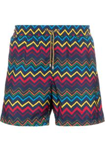 Missoni Zigzag Print Drawstring Swimming Trunks - Azul