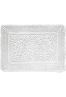 Jogo Americano Retangular De Algodão Crochet Copa Branco 45X33Cm - 18423