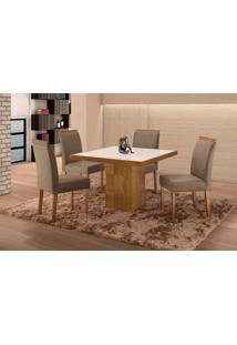 Conjunto De Mesa De Jantar Com 4 Cadeiras E Tampo De Madeira Maciça Arezo Ii Suede Cinza E Off White