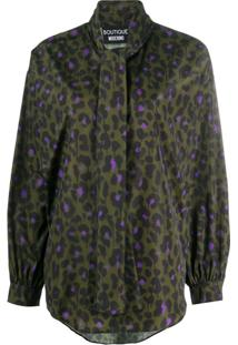 Boutique Moschino Leopard-Print Tied-Neck Blouse - Verde