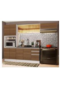 Cozinha Completa Madesa Acordes 100% Mdf Com Armário E Balcão (Sem Tampo E Pia) Branco/Rustic Cor:Branco/Rustic