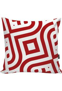 Capa De Almofada Geometric- Branca & Vermelha- 45X45Stm Home
