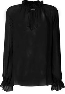 Saint Laurent Blusa Pirate Translúcida - Preto