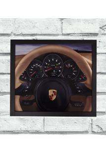 Quadro Decorativo Metal Volante Porsche Bege Cor Preto 40X50 - Amarelo - Dafiti