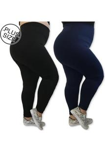 Kit 2 Leggings Plus Size Heide Ribeiro Leg Basic Suplex Barato Feminino - Feminino-Preto+Marinho