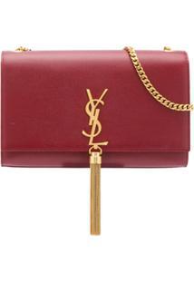 Saint Laurent Bolsa Transversal Kate Monogramada - Vermelho