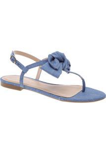 Sandália Rasteira Jeans Com Laço- Azularezzo & Co.