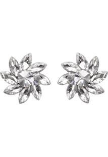 Brinco Pedraria Liage Flor Transparente / Incolor Cristal Metal Prata