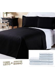 Kit Combo Cobre Leito Dourados Enxovais Jogo De Banho Dual Color Preto/Branco Casal Padrão 08 Peças