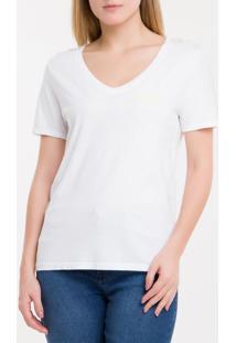 Blusa Ckj Fem Mc Logo Peito V - Branco 2 - P