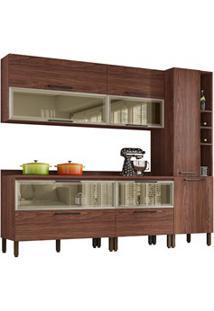 Cozinha Modulada 7 Peças Viv Concept C08 Nogueira/Off White - Kit´S Pa