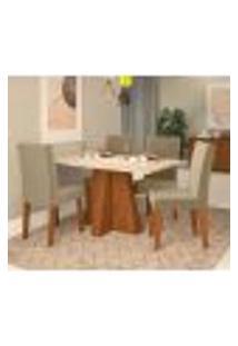 Conjunto De Mesa De Jantar Com 4 Cadeiras Estofadas Amanda Suede Off White E Joli