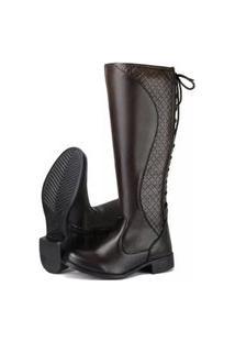 Bota Montaria Mr Try Shoes Salto Baixo Grosso Cano Curto Marrom