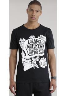 """Camiseta """"Los Angeles Motorcycle"""" Preta"""