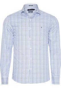 Camisa Masculina Xadrez - Branco