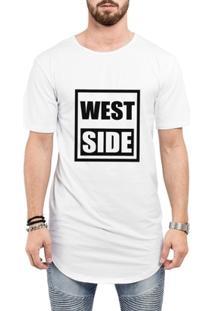 Camiseta Criativa Urbana Long Line Oversized West Side - Masculino