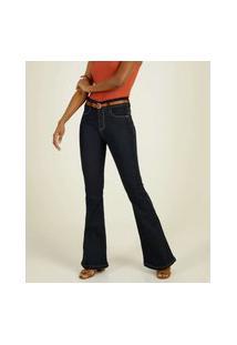 Calça Jeans Flare Feminina Bolsos
