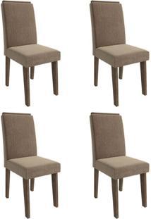 Conjunto Com 4 Cadeiras De Jantar Milena Suede Marrocos E Pluma