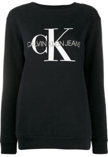 Calvin Klein Jeans Suéter Com Logo Bordado - Preto