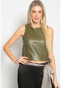Blusa Com Amarraã§Ã£O & Pespontos- Verde Escuro- Skunkskunk