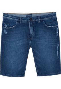 Bermuda Dudalina Jeans Stretch 5 Pockets Masculina (Jeans Escuro, 44)