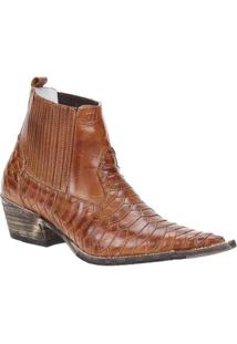 Bota Couro Texana Escamada Via Boots Masculino - Masculino-Caramelo