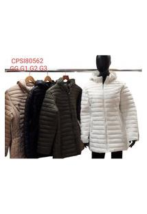 Casaco Plus Size De Nylon Com Capuz Cpsi80562 Bege Gg