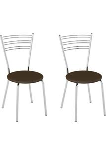 Conjunto Com 2 Cadeiras Sierra Cacau E Cromado