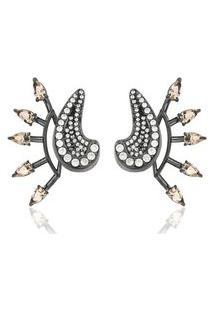 Brinco Soloyou Ear Jacket Fashion Semijoia Em Ródio Negro Com Zircônia Branca E Cristal Rosa