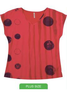 Blusa Manga Curta Com Estampa Rotativa Vermelho