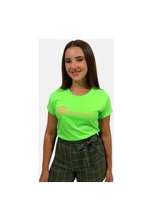 T-Shirt Camiseta Feminina Girlboss Manga Curta Verde Neon