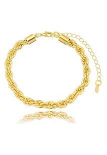 Pulseira Cordão Baiano Gazin Banhado A Ouro 18K - Unico - Ouro Dourado