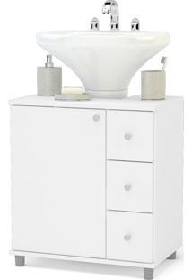 Balcão De Banheiro Com 3 Gavetas Branco Politorno