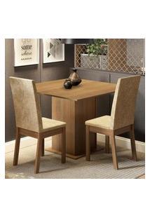 Conjunto Sala De Jantar Madesa Nati Mesa Tampo De Madeira Com 2 Cadeiras Marrom