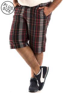 Bermuda Konciny Xadrez Plus Size Vermelho