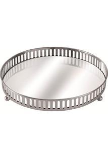 Bandeja Prata Em Metal Com Espelho, Moas, Preto, 5662
