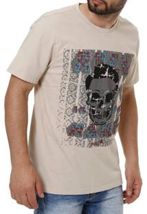 Camiseta Manga Curta Masculina Vels Bege