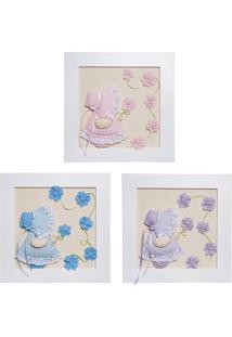 Trio De Quadros Camponesas Com Flores Bebê Infantil Potinho De Mel Colorido