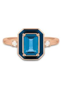 Anel Policroma Ouro Rosé Topázio London E Diamantes Pequeno